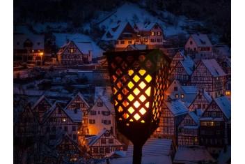 Соларна лампа фенер с ефект на пламък