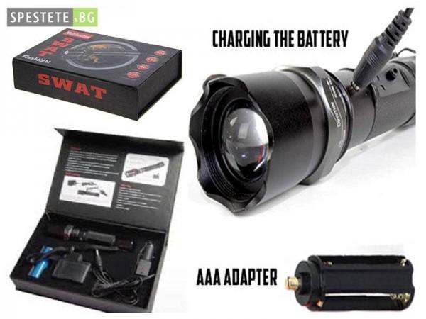 LED Фенер с акумулаторна батерия - SWAT Flashlight