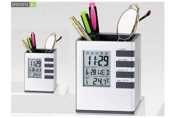 Моливник с термометър и часовник