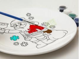 Декоративна коледна чиния за оцветяване