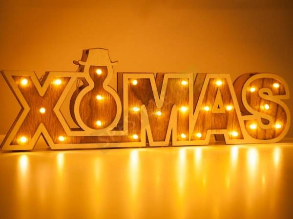 Коледен LED надпис XMAS