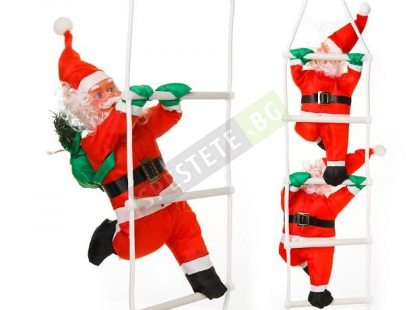 Коледна украса дядо коледа на стълба