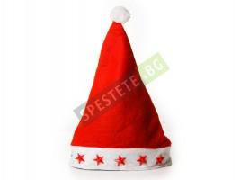 Коледна шапка със светещи звезди