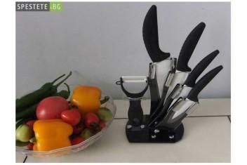 Керамични ножове 4 броя с белачка и поставка