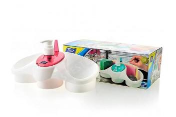 Практична поставка за гъби с дозатор за течен сапун