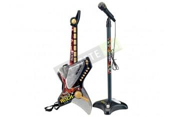 Комплект рок китара и микрофон на стойка