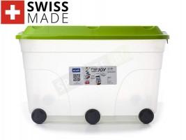 Голям прозрачен контейнер с колела 57л.
