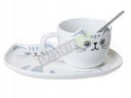 Комплект керамична чаша коте с чинийка