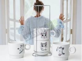 Комплект керамични чаши с метална стойка