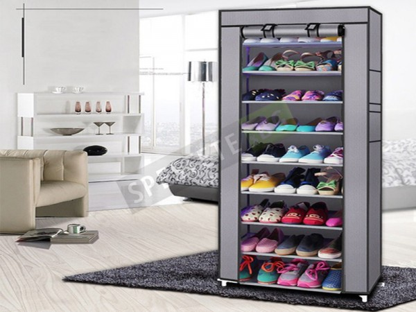 Текстилен шкаф за обувки с 8 рафта